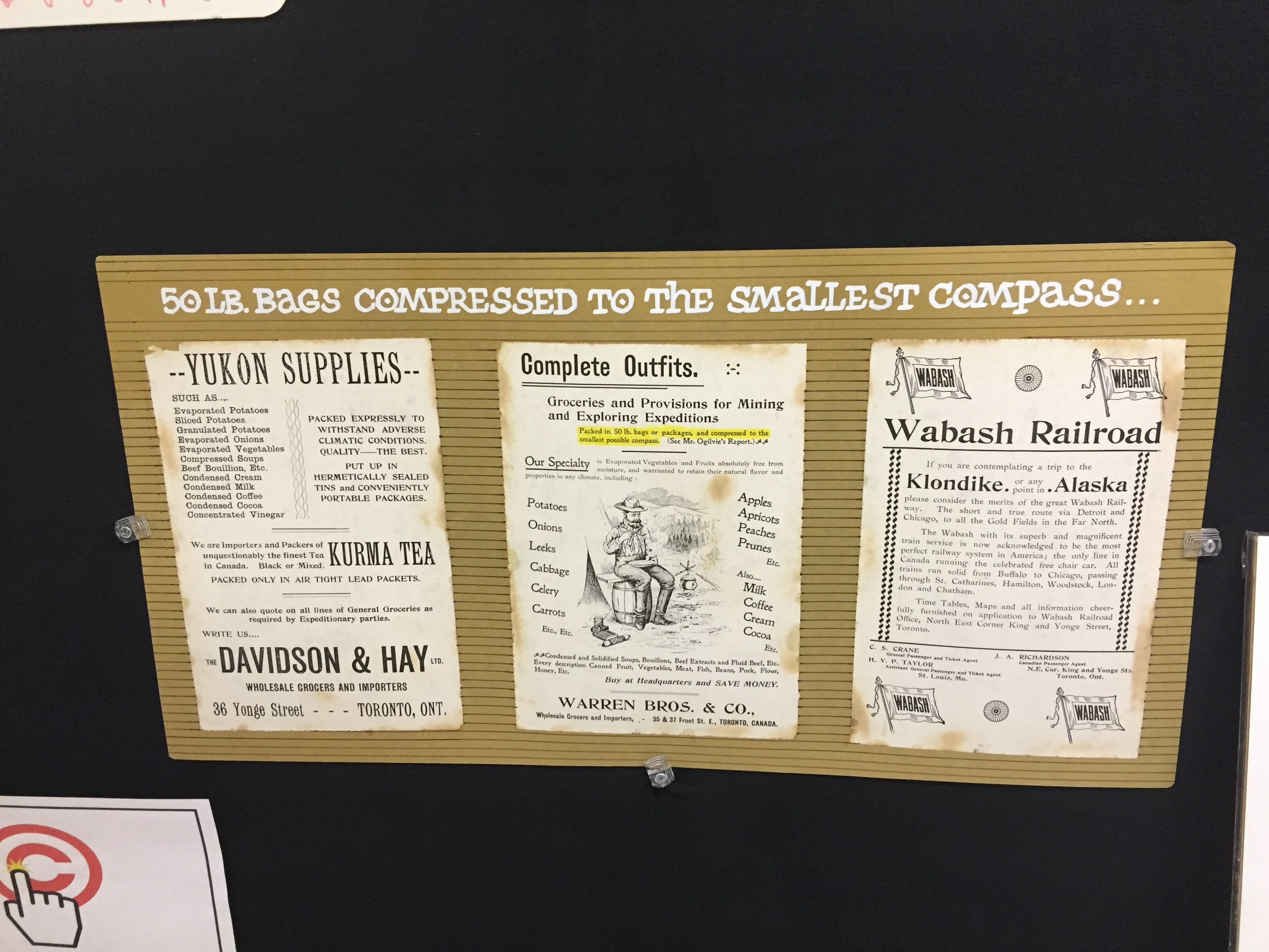 Ads for supplies for the gold prospector